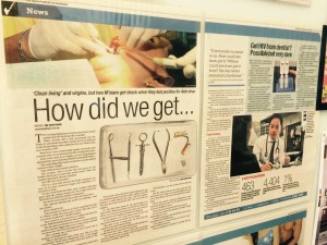 The 2 cases of possible HIV infection from dentist diagnosed by me were picked up by the News Media.